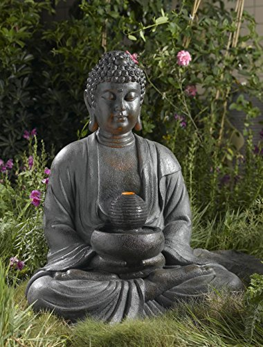 buddha brunnen mit led beleuchtung gro h he 83cm f r. Black Bedroom Furniture Sets. Home Design Ideas