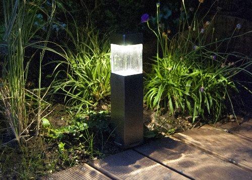 duracell solar led au enleuchte aus glas und geb rstetem edelstahl mit erdspie im 6 er. Black Bedroom Furniture Sets. Home Design Ideas