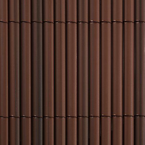 pvc sichtschutzmatte sichtschutzzaun f r garten balkon und terrasse 100 x 400 cm braun. Black Bedroom Furniture Sets. Home Design Ideas