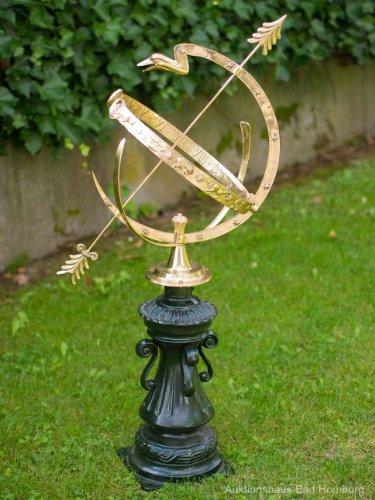 Sonnenuhr 105cm Alu Messing Garten Dekoration Nostalgie Antik Stil