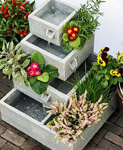 Solaray gartenbrunnen solar kaskadenbrunnen 4 st ckig for Gartendeko solar