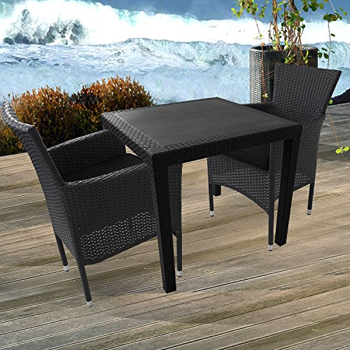 3tlg balkonm bel set gartentisch vollkunststoff rattan optik 79x79cm poly rattan gartensessel. Black Bedroom Furniture Sets. Home Design Ideas