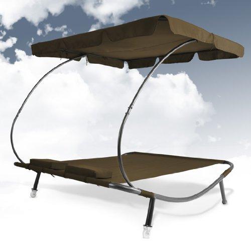 doppel sonnenliege mit dach braun gartenliege mit sonnendach ca 200x173x148cm alles f r garten. Black Bedroom Furniture Sets. Home Design Ideas