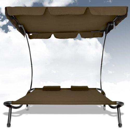 doppel sonnenliege mit dach braun gartenliege mit sonnendach ca. Black Bedroom Furniture Sets. Home Design Ideas