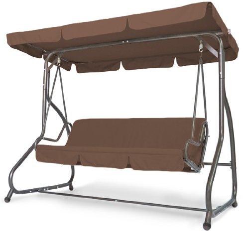 miadomodo hollywoodschaukel gartenschaukel in braun 3 sitzer mit bettfunktion inkl sitzauflage. Black Bedroom Furniture Sets. Home Design Ideas