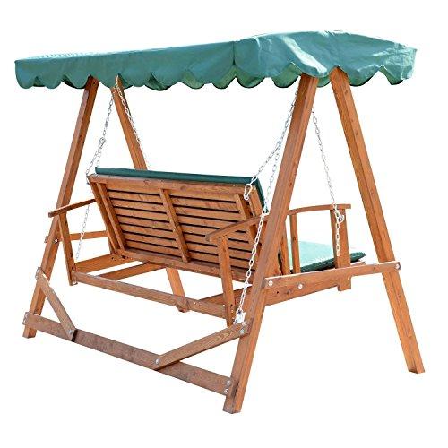 Outsunny® Hollywoodschaukel mit Sonnendach Echtholz-Gartenschaukel ...