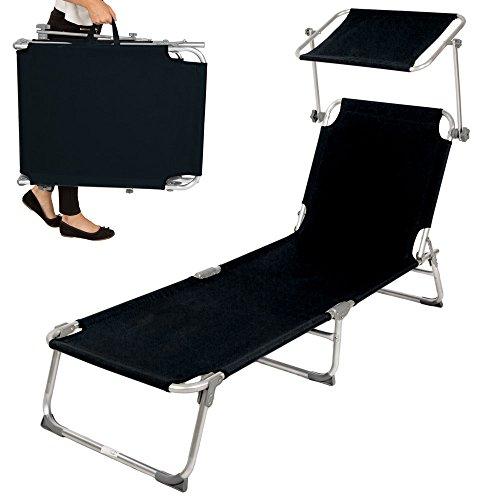 tectake tectake aluminium gartenliege sonnenliege klappbar mit sonnendach 190cm schwarz alles. Black Bedroom Furniture Sets. Home Design Ideas