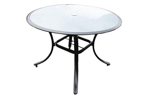Alu Gartentisch Glastisch Glas Tisch Rund Tisch O 110 Anthrazit