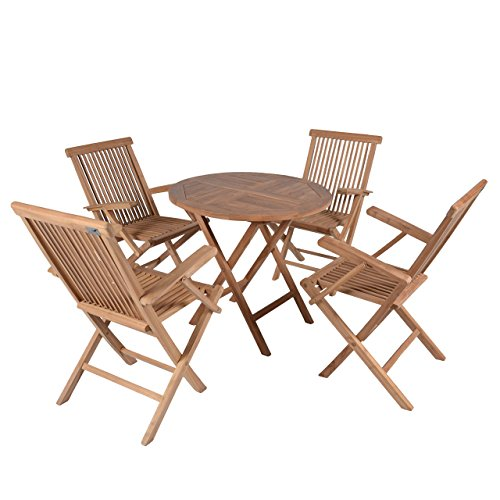 divero runder balkontisch gartentisch beistelltisch holz teak tisch f r terrasse balkon. Black Bedroom Furniture Sets. Home Design Ideas