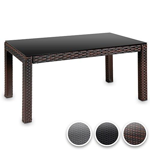hochwertiger polyrattan tisch teetisch beistelltisch f r den garten mit glas farbwahl alles. Black Bedroom Furniture Sets. Home Design Ideas