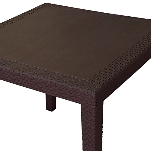 robuster gartentisch rattan optik kunststoff campingtisch beistelltisch mokka 79x79cm alles. Black Bedroom Furniture Sets. Home Design Ideas