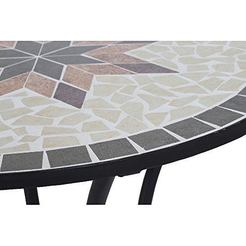 siena garden 875346 tisch stella gestell schwarz tischplatte in mosaik optik 70 x 76 cm. Black Bedroom Furniture Sets. Home Design Ideas